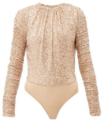 Jonathan Simkhai Sequinned Open Back Mesh Bodysuit - Womens - Gold