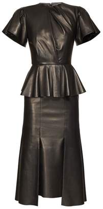 Alexander McQueen Bell Sleeve Peplum Leather Midi Dress - Womens - Black
