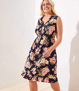 47b486f696ad LOFT Plus Floral Ruffled Tie Neck Swing Dress