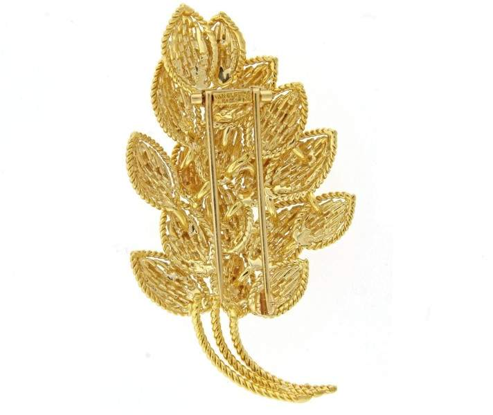 Van Cleef & ArpelsVan Cleef & Arpels 18K Yellow Gold Leaf Brooch