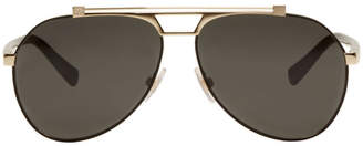 Dolce & Gabbana Black and Gold Aviator Sunglasses