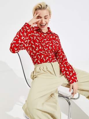 Shein Allover Little Dog Print Crop Shirt