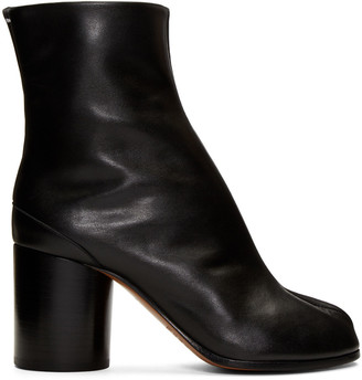 Maison Margiela Black Leather Tabi Boots $965 thestylecure.com