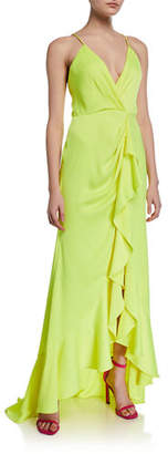 Jay Godfrey Elsie Satin Ruffle Wrap Slip Gown