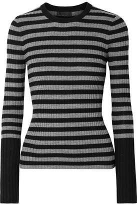 ATM Anthony Thomas Melillo Striped Ribbed Merino Wool Sweater - Black