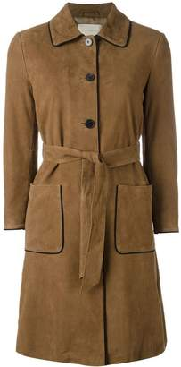 L'Autre Chose trench coat with contrast black piping