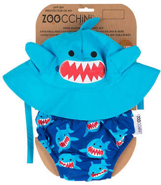 ZOOCCHINI Two-Piece Shark Large Swim Diaper and Sun Hat Set