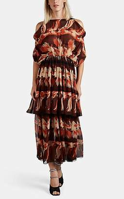 Fendi Women's Parakeet-Pattern Silk Chiffon Midi-Dress - Brown