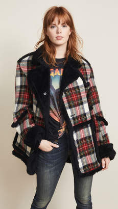 R 13 Plaid Coat with Sherpa Trim