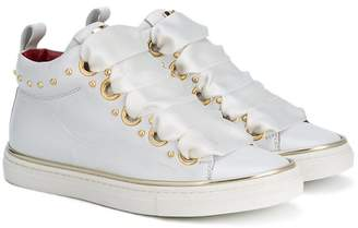 Cesare Paciotti Kids gold eyelet mid tops