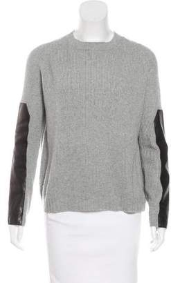 Reed Krakoff Cashmere Leather-Accented Sweater