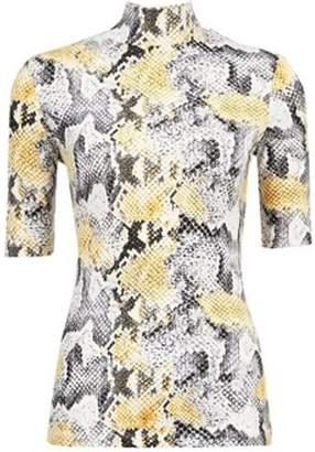 Dorothy Perkins Womens Multi Colour Short Sleeve Snake Print High Neck Top