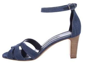 Manolo Blahnik Denim Ankle Strap Sandals