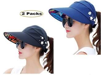 10a539fca57 Jiuhexu Visor Hats Wide Brim Cap UV Protection Summer Sun Hats For Women