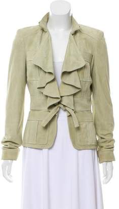Gucci Ruffle-Trimmed Suede Jacket