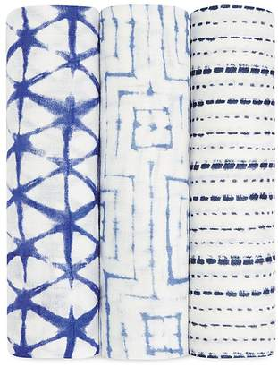 Aden and Anais Infant Boys' Indigo Silky Swaddles, 3 Pack $45 thestylecure.com