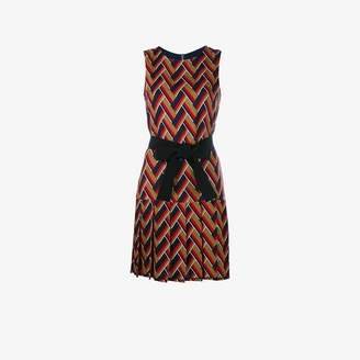 Gucci Red Zig Zag Pattern Silk and Wool Versatile Chevron Sleeveless Pleated Dress, Size: 38