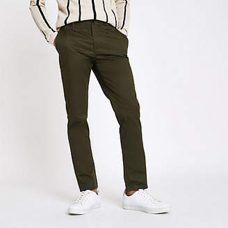 River Island Khaki green Dylan slim fit pants