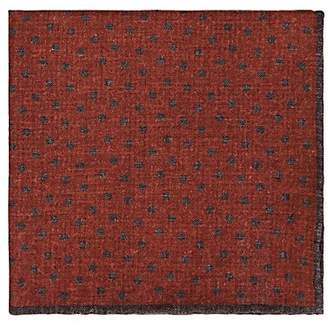 Eleventy MEN'S REVERSIBLE WOOL-COTTON POCKET SQUARE - ORANGE