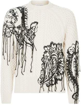 Alexander McQueen Engineered Paisley Aran Sweater