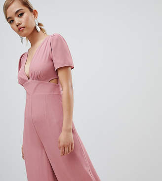 Asos DESIGN Petite tea jumpsuit with cut out and wide leg