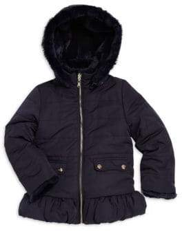 Tartine et Chocolat Little Girl's Quilted& Faux Fur Reversible Jacket