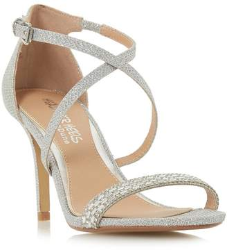 Head Over Heels by Dune - Silver 'Missy' Mid Kitten Heel Ankle Strap Sandals