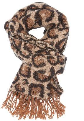 russe leopard oblong fringe scarf shopstyle