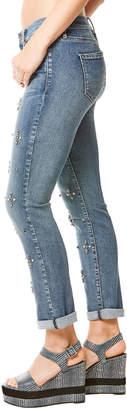 Nicole Miller New York Tribeca Mid-Rise Rhinestoned Straight-Leg Jeans