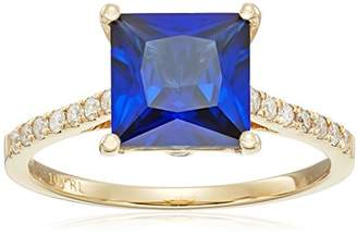 10k Yellow Gold Square Cut Created Sapphire with Diamond Accent Ring (1/5cttw