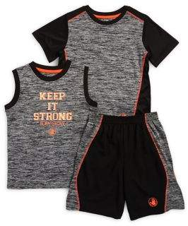 Body Glove Little Boy's Three-Piece Keep It Strong Tank Top, Tee and Shorts Set