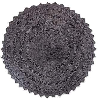 DII Ultra Soft Spa Cotton Crochet Round Bath Mat or Rug Place in Front of Shower