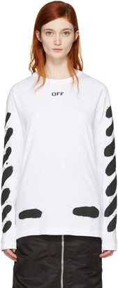 Off-White SSENSE Exclusive White Diagonal Spray T-Shirt $320 thestylecure.com