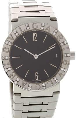 Bulgari BB30SSD Stainless Steel & Diamonds Black Dial Quartz 30mm Womens Watch