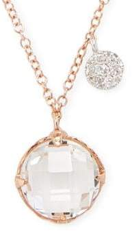 Meira T White Topaz, Diamond and 14K Rose Gold Pendant Necklace