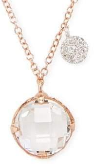 Meira T White Topaz, Diamond and 14K Rose Gold Pendant Necklace