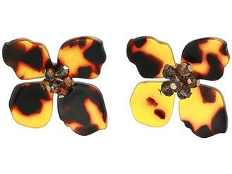 Shashi Flower Tortoise Stud Earrings