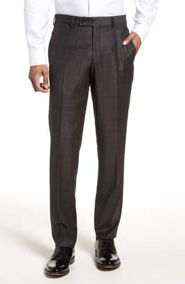 Ted Baker Jefferson Flat Front Plaid Wool Trousers