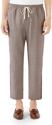 Gucci Men's Check Wool-Mohair Drawstring Trousers