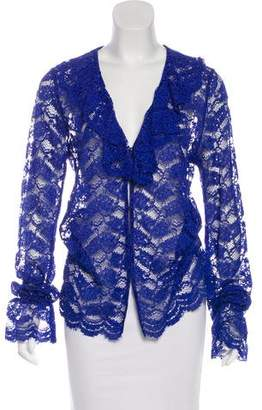Alexis Ruffle-Accented Lace Blouse