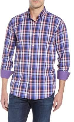 Bugatchi Plaid Shaped Fit Sport Shirt