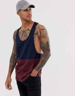 Asos Design DESIGN organic extreme racer back tank with contrast yoke in burgundy