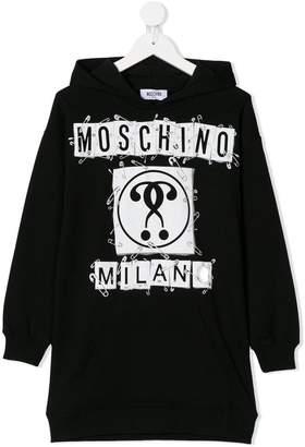 Moschino Kids TEEN logo print hoodie dress