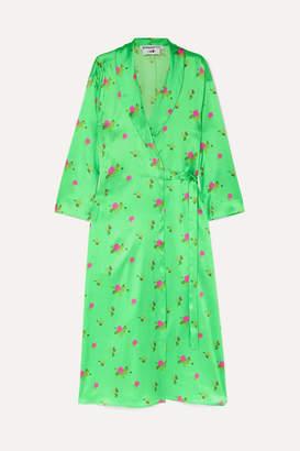 BERNADETTE - Elle Floral-print Stretch-silk Satin Wrap Dress - Green
