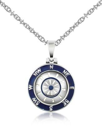 Forzieri Stainless Steel Cardinal Points & Rudder Pendant Necklace