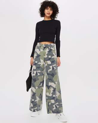 Topshop Geo Camo Printed Wide Leg Jeans
