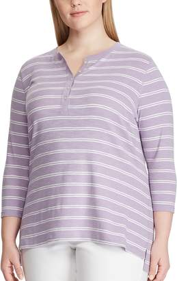 Chaps Plus Size Printed Henley Tee