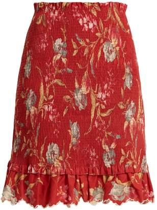 Zimmermann Corsair Iris shirred linen and cotton-blend skirt