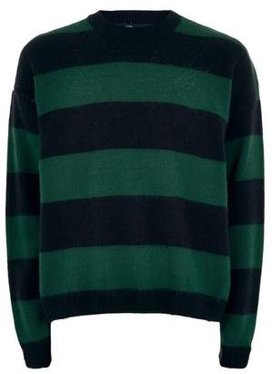 Topman Mens Green and Navy Block Stripe Sweater