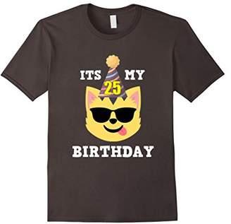 25th Birthday T-Shirt Cool Shades Cat Emoji Birthday Shirt